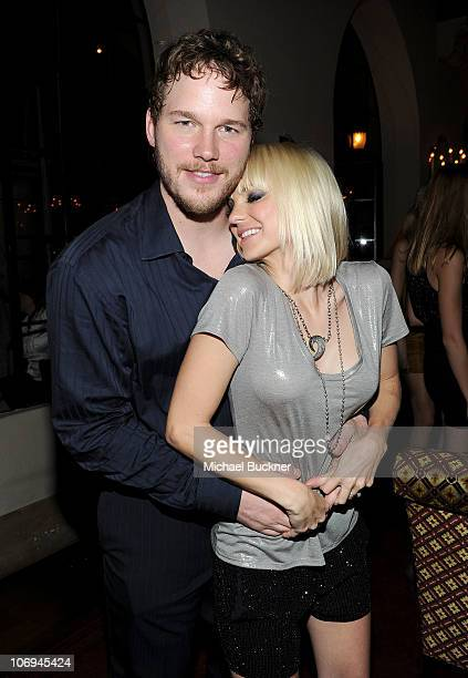 Actor Chris Pratt and Actress Anna Faris attends the GQ 2010 Men of the Year held at Chateau Marmont on November 17 2010 in Los Angeles California