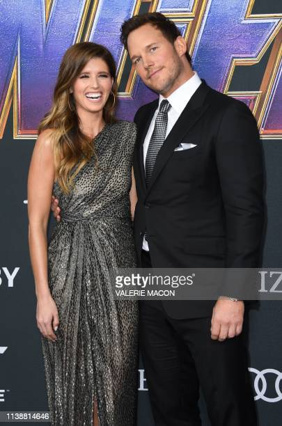 US actor Chris Pratt and fiance author Katherine Schwarzenegger arrive for the World premiere of Marvel Studios' Avengers Endgame at the Los Angeles...