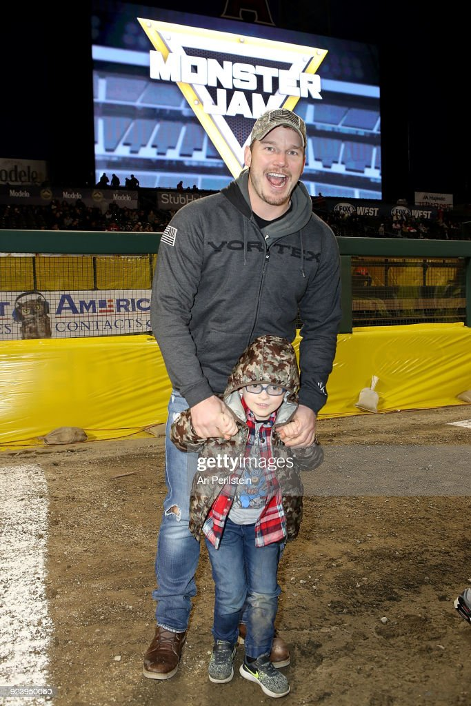 Actor Chris Pratt and his son Jack attends Monster Jam Celebrity Event at Angel Stadium on February 24, 2018 in Anaheim, California.