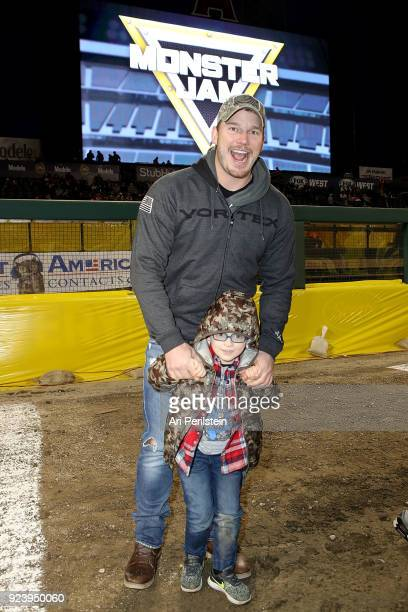 Actor Chris Pratt and his son Jack attends Monster Jam Celebrity Event at Angel Stadium on February 24 2018 in Anaheim California