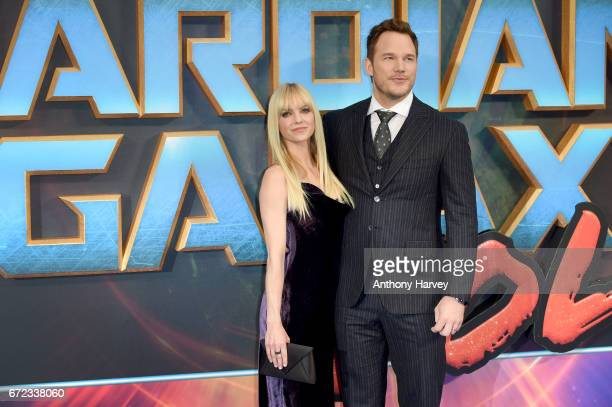 Actor Chris Pratt and his wife actress Anna Faris attend the UK screening of Guardians of the Galaxy Vol 2 at Eventim Apollo on April 24 2017 in...