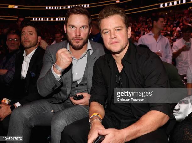 Actor Chris Pratt and Matt Damon attend the UFC 229 event inside TMobile Arena on October 6 2018 in Las Vegas Nevada