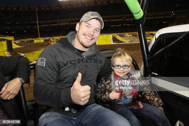 Actor Chris Pratt and son Jack attend Monster Jam Celebrity Event at Angel Stadium on February 24 2018 in Anaheim California