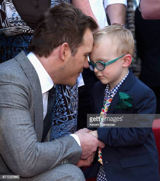 Actor Chris Pratt and son Jack Pratt at Chris Pratt Honored With Star On The Hollywood Walk Of Fame on April 21 2017 in Hollywood California