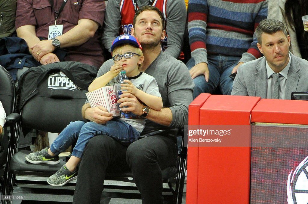 Actor Chris Pratt and son Jack Pratt attend a basketball game between the Los Angeles Clippers and the Minnesota Timberwolves at Staples Center on December 6, 2017 in Los Angeles, California.