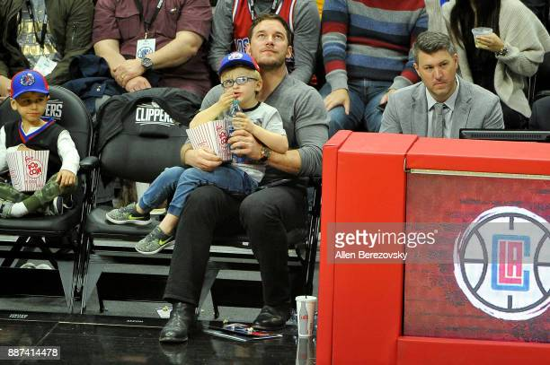 Actor Chris Pratt and son Jack Pratt attend a basketball game between the Los Angeles Clippers and the Minnesota Timberwolves at Staples Center on...
