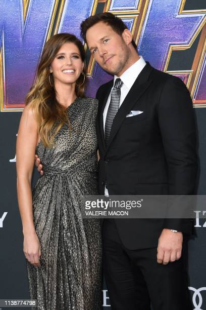 US actor Chris Pratt and US author Katherine Schwarzenegger arrive for the World premiere of Marvel Studios' Avengers Endgame at the Los Angeles...