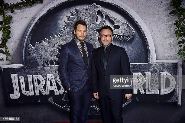 Actor Chris Pratt and Writer/Director Colin Trevorrow attend the Universal Pictures' Jurassic World premiere at the Dolby Theatre on June 9 2015 in...