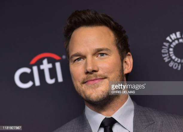 US actor Chris Pratt arrives for the PaleyFest presentation of NBC's Parks and Recreation 10th Anniversary Reunion at the Dolby theatre on March 21...