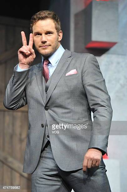 Actor Chris Pratt attends 'Jurassic World' press conference at Yintai Centre on May 26 2015 in Beijing China