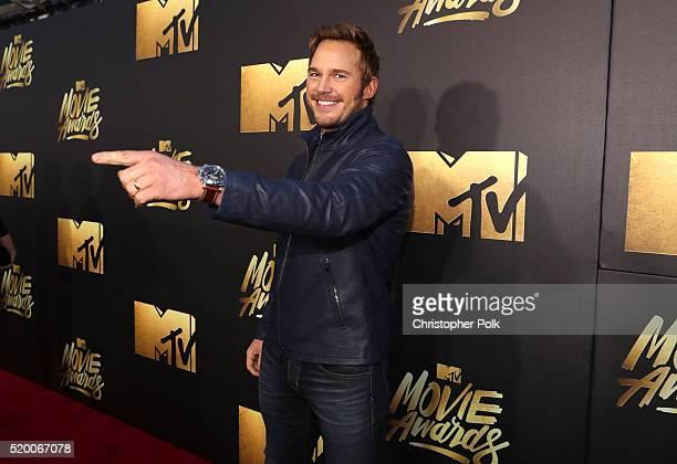 Actor Chris Pratt attends the 2016 MTV Movie Awards at Warner Bros Studios on April 9 2016 in Burbank California MTV Movie Awards airs April 10 2016...