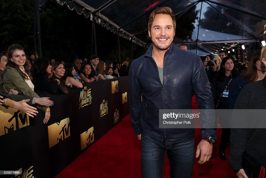 Actor Chris Pratt attends the 2016 MTV Movie Awards at Warner Bros. Studios on April 9, 2016 in Burbank, California. MTV Movie Awards airs April 10, 2016 at 8pm ET/PT.