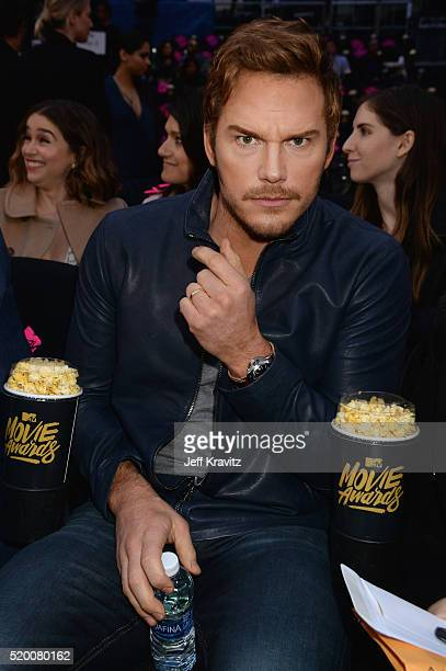 Actor Chris Pratt attends the 2016 MTV Movie Awards at Warner Bros Studios on April 9 2016 in Burbank California MTV Movie Awards airs April 10 2016...