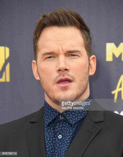 US actor Chris Pratt attends the 2018 MTV Movie TV awards at the Barker Hangar in Santa Monica on June 16 2018 This year's show is not live It will...