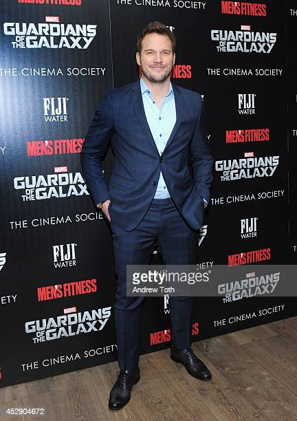 """Actor Chris Pratt attends The Cinema Society with Men's Fitness & FIJI Water host a screening of """"Guardians of the Galaxy"""" on July 29, 2014 in New..."""