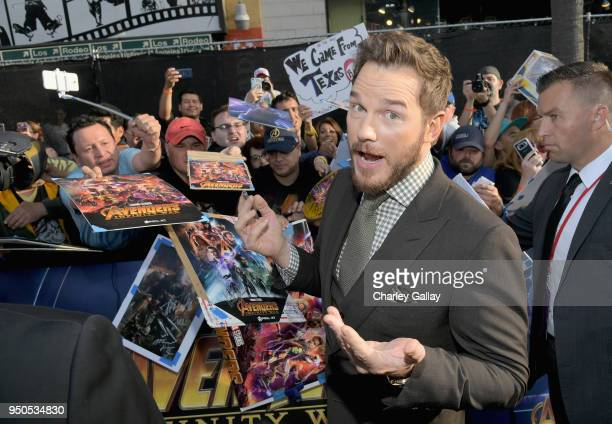 Actor Chris Pratt attends the Los Angeles Global Premiere for Marvel Studios' Avengers Infinity War on April 23 2018 in Hollywood California