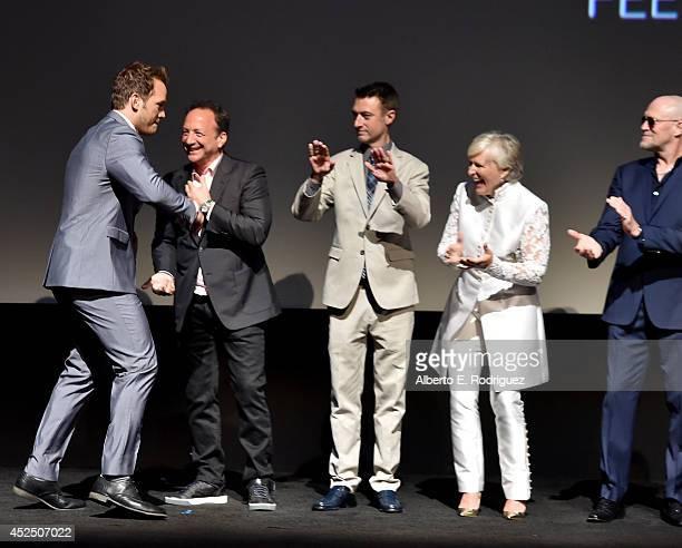 Actor Chris Pratt Executive producer Louis D'Esposito actors Sean Gunn Glenn Close and Michael Rooker attend The World Premiere of Marvel's epic...