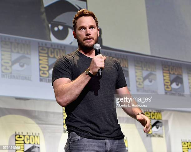 """Actor Chris Pratt from Marvel Studios' 'Guardians Of The Galaxy Vol 2"""" attends the San Diego ComicCon International 2016 Marvel Panel in Hall H on..."""