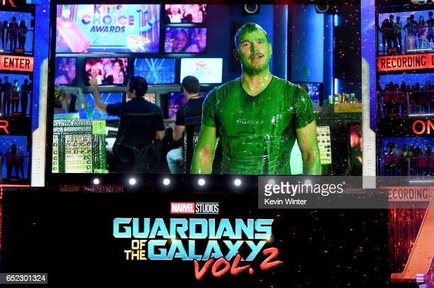 Actor Chris Pratt gets slimed via satellite at Nickelodeon's 2017 Kids' Choice Awards at USC Galen Center on March 11 2017 in Los Angeles California
