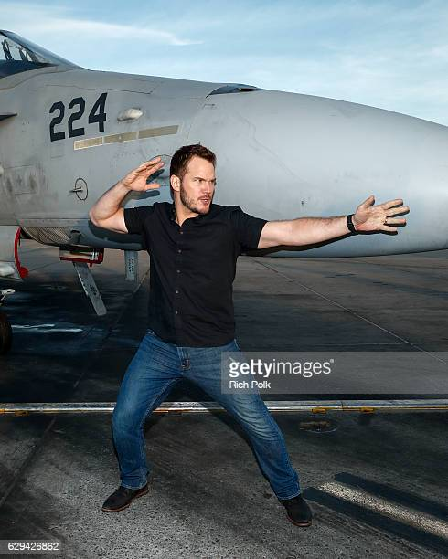 Actor Chris Pratt jokes around at Marine Corps Air Station Miramar on December 12 2016 in San Diego California