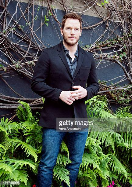 Actor Chris Pratt poses for a portrait at the 'Jurassic World' Press Conference at Universal Studios Backlot on June 6 2015 in Universal City...