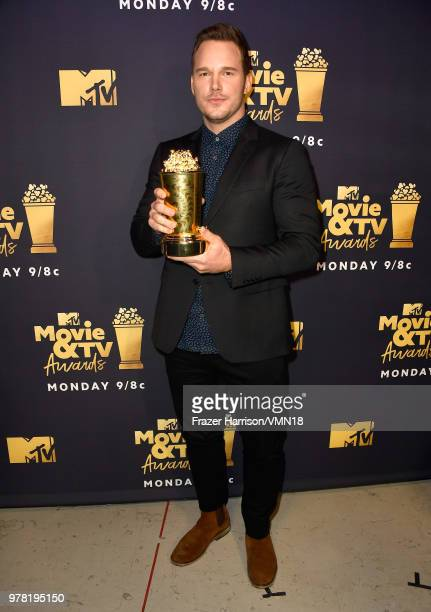 Actor Chris Pratt recipient of the MTV Generation Award attends the 2018 MTV Movie And TV Awards at Barker Hangar on June 16 2018 in Santa Monica...