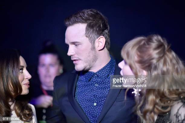 Actor Chris Pratt recipient of the MTV Generation Award with actors Aubrey Plaza and Bryce Dallas Howard attend the 2018 MTV Movie And TV Awards at...