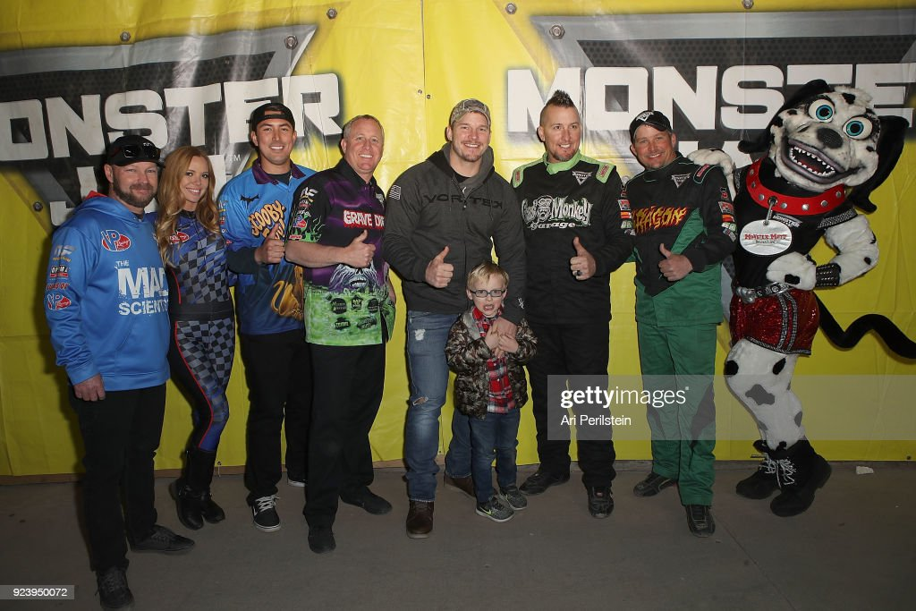 Actor Chris Pratt, son Jack, and Monster Jam Drivers attend Monster Jam Celebrity Event at Angel Stadium on February 24, 2018 in Anaheim, California.