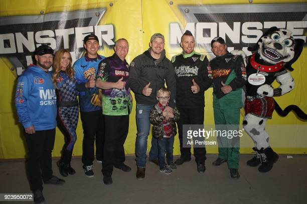 Actor Chris Pratt son Jack and Monster Jam Drivers attend Monster Jam Celebrity Event at Angel Stadium on February 24 2018 in Anaheim California
