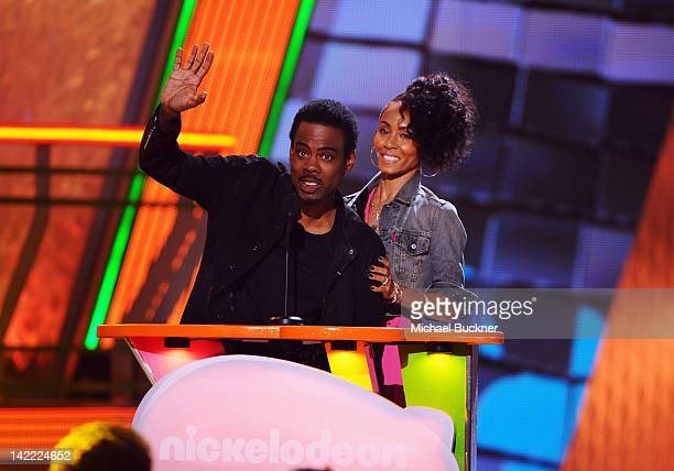 Actor Chris Rock and actress/singer Jada Pinkett Smith speak onstage at Nickelodeon's 25th Annual Kids' Choice Awards held at Galen Center on March...
