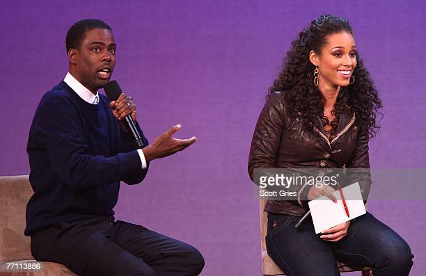 Actor Chris Rock and musician Alicia Keys answer questions on stage during 'Giving Live At The Apollo' presented by MTV and the Clinton Global...