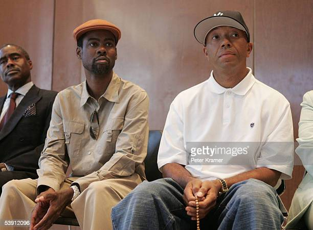 Actor Chris Rock and Rap Mogul Russell Simmons attend a BETand National Urban League press conference for hurricane Katrina benefit on September 1...