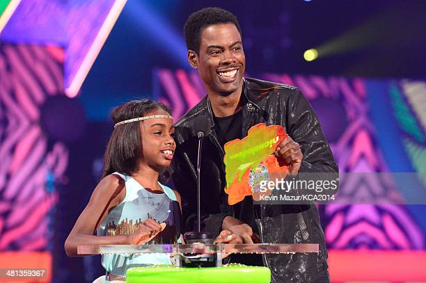 Actor Chris Rock and Zahra Savannah Rock speak onstage during Nickelodeon's 27th Annual Kids' Choice Awards held at USC Galen Center on March 29 2014...