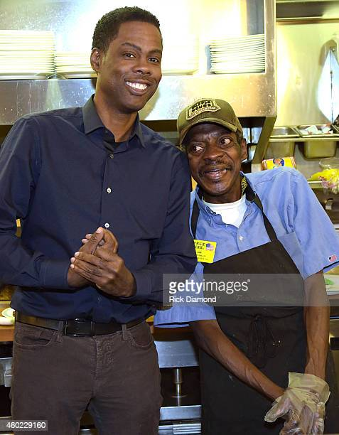 Actor Chris Rock stops by the Waffle House after his VIP screening of Paramount Pictures' 'Top Five' and meets WH Grill Operator Joe Henry Hurst on...