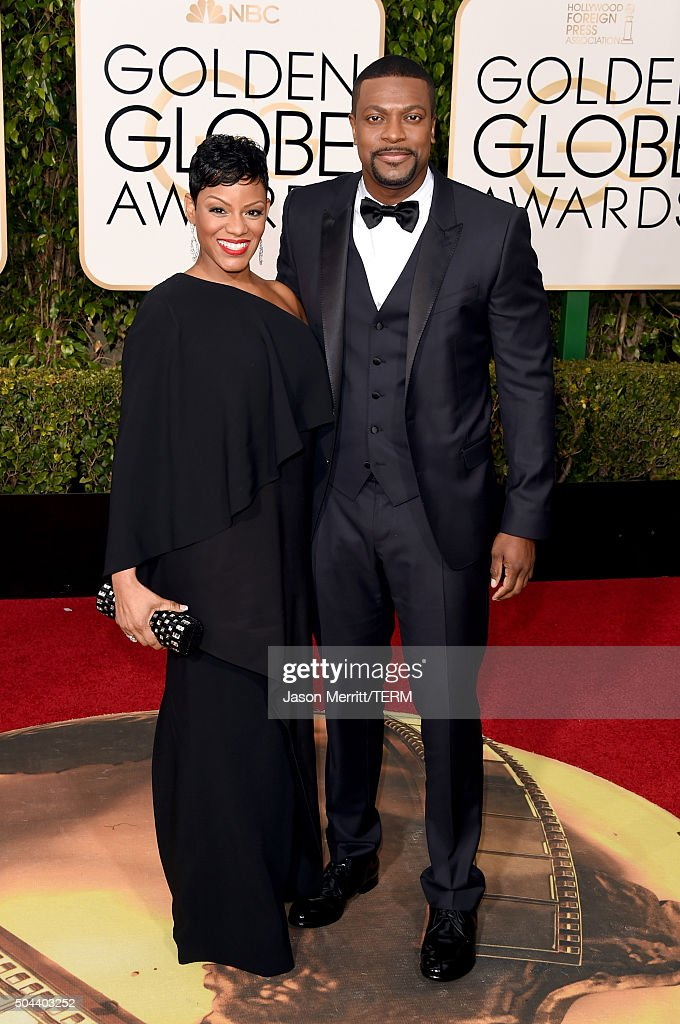 Actor Chris Tucker (R) and Cynne Simpson attend the 73rd Annual Golden Globe Awards held at the Beverly Hilton Hotel on January 10, 2016 in Beverly Hills, California.
