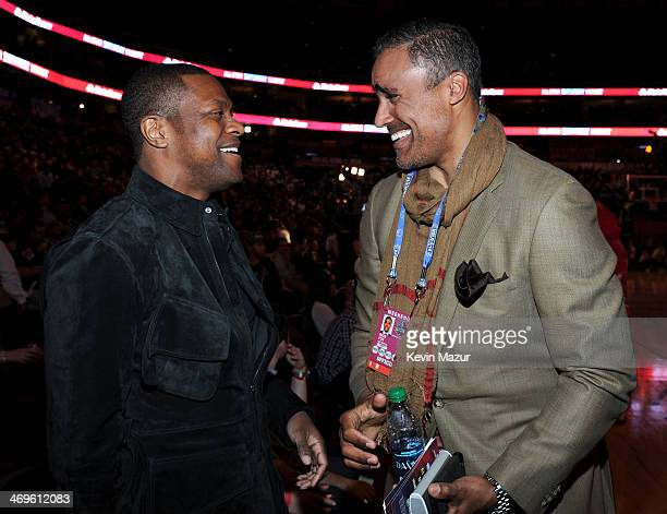 Actor Chris Tucker and Former NBA Player Rick Fox attends the State Farm All-Star Saturday Night during the NBA All-Star Weekend 2014 at The Smoothie...
