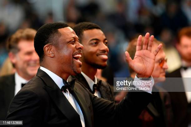 US actor Chris Tucker and his son Destin Christopher Tucker arrive for the screening of Homage to Sylvester Stallone Rambo Last Blood at the 72nd...