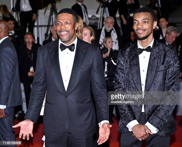 US actor Chris Tucker and his son Destin Christopher Tucker arrive for the screening of the film 'Rambo V Last Blood' at the 72nd annual Cannes Film...