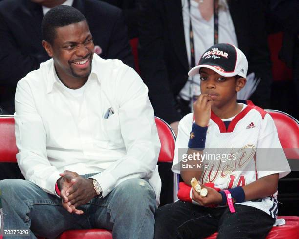 Actor Chris Tucker and his son Destin Tucker watch the 2007 NBA AllStar Game February 18 2007 at the Thomas Mack Center in Las Vegas Nevada