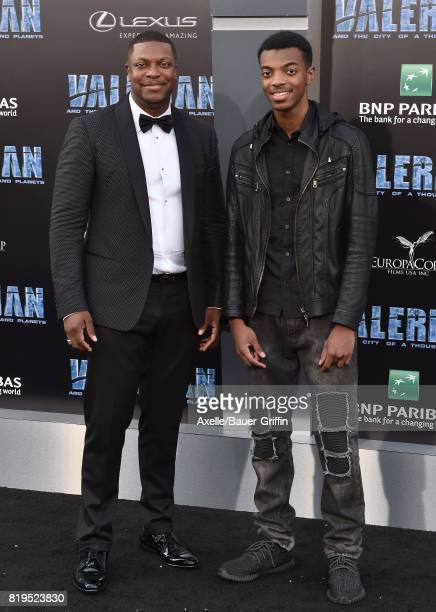 Actor Chris Tucker and son Destin Christopher Tucker arrive at the Los Angeles premiere of 'Valerian and the City of a Thousand Planets' at TCL...