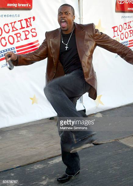 Actor Chris Tucker arrives at Rockin' The Corps An American Thank You Celebration Concert at Camp Pendelton on April 1 2005 in San Diego California