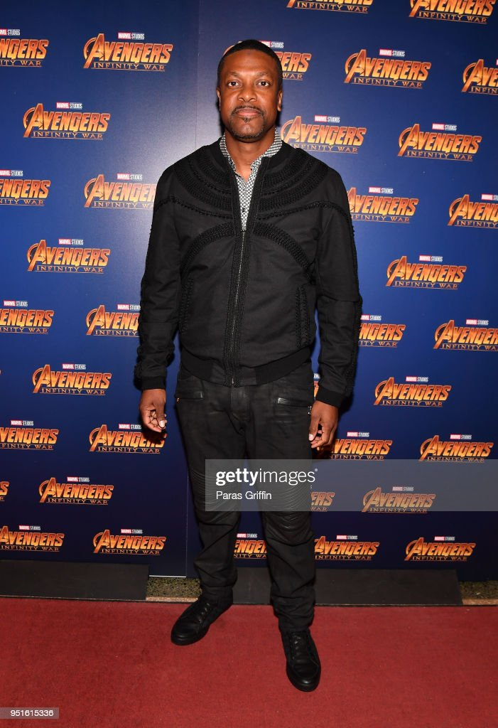 Actor Chris Tucker attends Marvel Studios' 'Avengers: Infinity War' screening at The Fox Theatre on April 26, 2018 in Atlanta, Georgia.