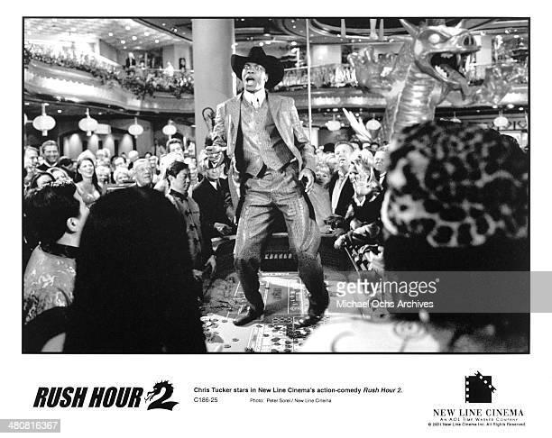Actor Chris Tucker dances in a scene of the New Line Cinema movie Rush Hour 2 circa 2001