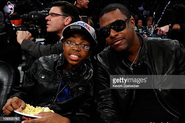Actor Chris Tucker poses with son Destin Tucker as they attend NBA AllStar Saturday night presented by State Farm at Staples Center on February 19...