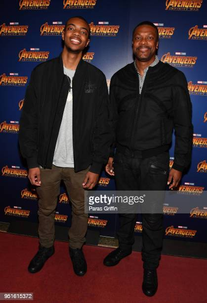 Actor Chris Tucker with his son at Marvel Studios' 'Avengers Infinity War' screening at The Fox Theatre on April 26 2018 in Atlanta Georgia