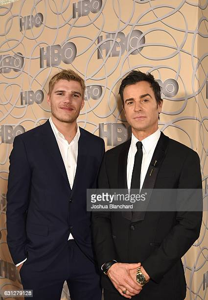Actor Chris Zylka and Justin Theroux attend HBO's Official Golden Globe Awards After Party at Circa 55 Restaurant on January 8 2017 in Beverly Hills...
