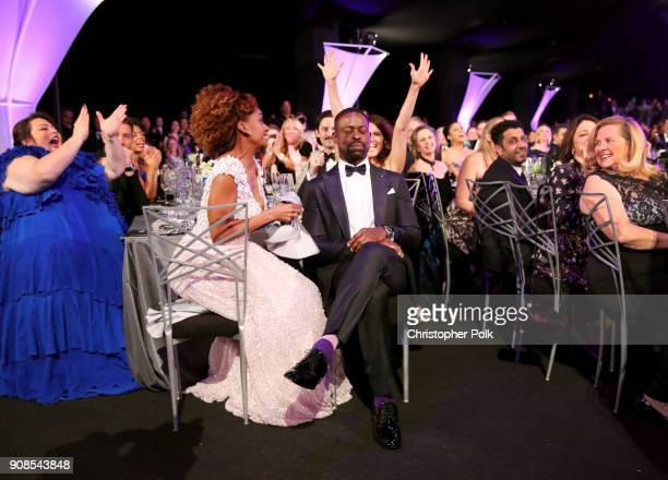 Actor Chrissy Metz Ryan Michelle Bathe and actor Sterling K Brown attend the 24th Annual Screen Actors Guild Awards at The Shrine Auditorium on...