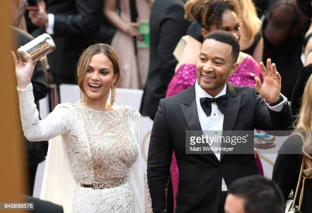 Actor Chrissy Teigan and Musician John Legend attends the 89th Annual Academy Awards at Hollywood Highland Center on February 26 2017 in Hollywood...