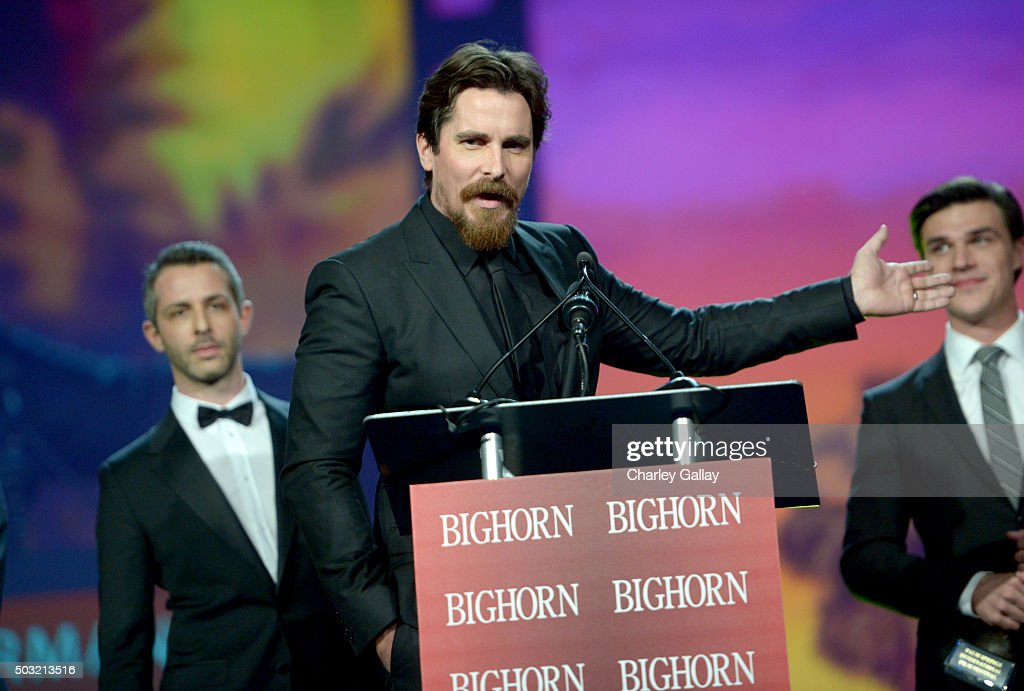Actor Christian Bale accepts the Ensemble Performance Award for 'The Big Short' onstage at the 27th Annual Palm Springs International Film Festival Awards Gala at Palm Springs Convention Center on January 2, 2016 in Palm Springs, California.
