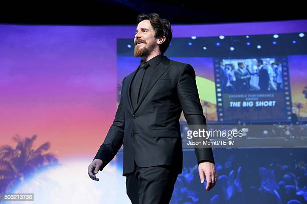 Actor Christian Bale accepts the Ensemble Performance Award for 'The Big Short' onstage at the 27th Annual Palm Springs International Film Festival...